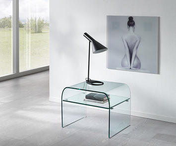 Tavolini Di Vetro Design.Comodini Tavoli Scrivanie E Porta Tv In Vetro Curvato